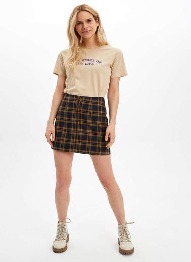 DeFacto Yazı Baskılı Kısa Kollu T-shirt Bej
